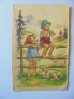 Cpa Carte Enfants Chèvre Village Illustrateur Germaine Bouret Authentique - Bouret, Germaine