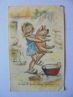 Cpa Carte Enfants Cochon Illustrateur Germaine Bouret Authentique - Bouret, Germaine