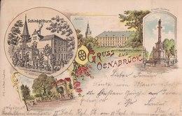 Gruss Aus Osnabrück. Schinkelthurm, Schloss, Krieger-Denkmal. 1898. - Osnabrück