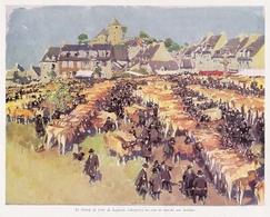 Le Champ De Foire De LAGUIOLE Un Jour De Marché Aux Bestiaux  Aquarelle D' Albert Brenet 1941 - Vieux Papiers