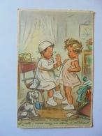 Cpa Carte Enfant Chien Docteur Illustrateur Germaine Bouret Authentique - Bouret, Germaine