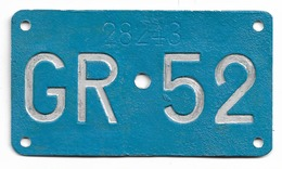 Velonummer Graubünden GR 52 - Nummerplaten