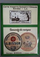 Plaque Publicitaire GLACOÏDE - Années 1950 - Camembert G.BISSON - Taille 24cm X 32cm - Enseignes