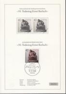 BERLIN  823 Mit ESST Auf Sonderblatt Mit Schwarzdruck Im Waagerechten Paar, Ernst Barlach 1988 - Covers