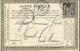 Carte Précurseur PRIVEE Société GIRARDOT REIMS Timbre 15c Sage Reims Le 3 Janvier 1878 - Entiers Postaux