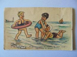 Cpa Carte Enfant Plage Jeux Illustrateur Germaine Bouret Authentique - Bouret, Germaine