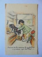 Cpa Carte Enfant Chien Train Illustrateur Germaine Bouret Authentique - Bouret, Germaine