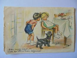 Cpa Carte Enfant Chien Illustrateur Germaine Bouret Authentique - Bouret, Germaine