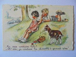 Cpa Carte Enfant Illustrateur Germaine Bouret Authentique 1943 - Bouret, Germaine