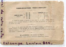 - Horaire Du  Train - Ligne Paris ( Gare Du Nord ) - Groslay, Pour Le Chateau, Voir Détails,  Scans.. - Europe