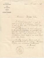 Lettre Du Maire De Cintrey (70), 1/5/1928 - Documents Historiques