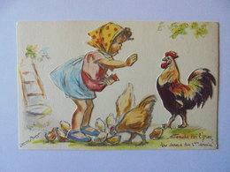 Cpa Carte Système Découpis Enfant Poule Illustrateur Germaine Bouret Authentique - Bouret, Germaine