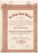 Titre Ancien - East African General Mining Cy, - Titre De 1927 N°3995 - Mines