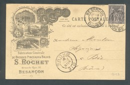25 - Besançon - S Rochet Fabrication De Brosses , Pinceaux Et Balais - 1896 - Besancon