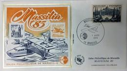 ENVELOPPE FDC AVEC BLOC CNEP MASSILIA 1/03/1985 TIMBRE MARSEILLE 8F - FDC