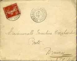PAS DE CALAIS HENIN LIETARD 1912 Adressée à La Poste De Bruay. Lettre Au Texte Intéressant Semeuse 10c - Cachets Manuels