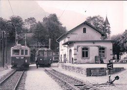 Schweizer Eisenbahnen, Rhätische Bahn, Bellinzona-Mesocco-Bahn, Train En Gare De Soazza, Photo 1971 RhB 189.7 - Trains