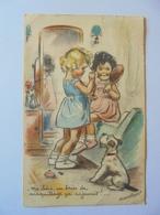 Cpa Carte Enfants Chien Illustrateur Germaine Bouret Authentique 1950 - Bouret, Germaine