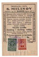 1930s  YUGOSLAVIA,CROATIA,ZAGREB,TRADING HOUSE S.MILINOV,RECEIPT,2 REVENUE STAMPSS - 1931-1941 Kingdom Of Yugoslavia