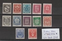 FRANCE 1941 N° 526 à 537 * CHARNIERES - Frankreich