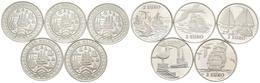 HOLANDA. Conjunto De 5 Monedas De 2 Ecu De 1997. Temáticas De Navegación Maríti - Other