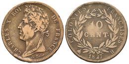 FRANCIA. Carlos X. 10 Centimes. 1827. La Rochelle H. Km#11.2. Ae. 20,74g. MBC-. - Spain