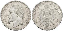 FRANCIA. Napoleón III. 5 Francs. 1868. Paris A. Km#799.1. Ar. 24,88g. MBC. - Spain
