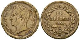 MONACO. Honore V. 1 Décime. 1838. Monaco C. Km#97.1. Ae. 17,80g. MBC-. - Spain
