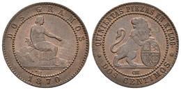 GOBIERNO PROVISIONAL. 2 Céntimos. 1870. Barcelona OM. Cal-26. Ae. 2,06g. BC+.<B - Provincial Currencies