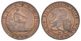 GOBIERNO PROVISIONAL. 1 Céntimo. 1870. Barcelona OM. Cal-27. Ae. 0,95g. Brillo - Provincial Currencies