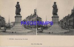 133084 BELGIUM BRUGES STATUE OF JEAN VAN EYCK STEREO VIEW POSTAL POSTCARD - Belgique