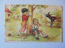 Cpa Carte Enfants Chien Illustrateur Germaine Bouret Authentique - Bouret, Germaine