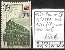 D - [847779]TB//**/Mnh-c:10e-France 1945 - N° 228A, CP, Avec Filigrane, Trains, Transports, SNC - Neufs