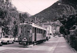 Schweizer Eisenbahnen, Rhätische Bahn, Berninabahn, Train Dans La Rue à Le Prese, Photo 1971 BVA RhB 180.7 - Trains