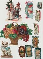 Lot De Chromos Découpis N°1 Fleurs Nain Chat Tableaux - Victorian Die-cuts