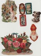 Lot De Chromos Découpis N°2 Chien Dalmatien Saint Nicolas Fleurs Roses Tableau - Victorian Die-cuts