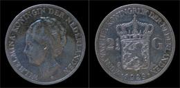 Netherlands Wilhelmina I 2 1/2 Gulden(rijksdaalder)1929 - 2 1/2 Gulden