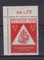 Tag Der Briefmarke  Eckrandstück ** - Soviet Zone