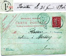 JURA ENTIER CP 10C SEMEUSE LIGNEE 1906 MOISSEY T84 + BOITE RURALE F = POINTRE - Marcophilie (Lettres)