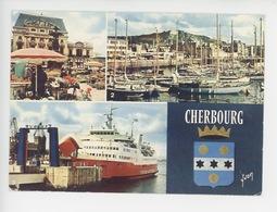 Cherbourg, Place De Gaulle, Port Yachts, Car-Ferry Au Port, Multivues Blason N°8765 Yvon - Cherbourg