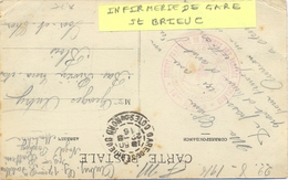 GUERRE 14-18 CROIX ROUGE INFIRMERIE DE GARE St BRIEUC * 10me RÉGION * 22-8-1916 - Marcophilie (Lettres)