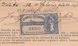 1932 - TIMBRE FISCAL DE SCEAU SUR DOCUMENT DU MINISTERE DE LA GUERRE - REPUBLICA PORTUGUESA - Fiscaux