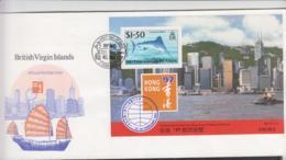 FISHES - BRITISH VIRGIN ISLANDS - 1997 - HONG KONG /MARLIN S/SHEET ON ILLUSTRATED FDC - Poissons
