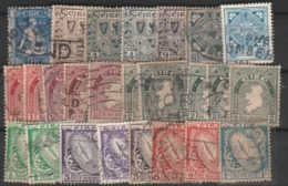 A  LOT OF EARLY IRELAND STAMPS USED /SWORD OF LIGHT-MAP OF IRELAND-IRISH ARMS -CELTIC CROSS ETC.DIFFERENT SHADES - Irlanda
