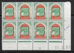 Maury 343 - 1 F Bône - Coin Daté Du 12.2.57 (Bloc De 8) - ** - Algérie (1924-1962)