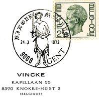 """Thema """"armes - épée"""" - Cachet Spécial Gent (Gand) 24-3-1973 - Postmark Collection"""