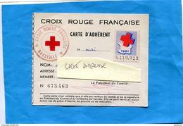 Croix Rouge -Carte D'adhérent Vignette 1961-  Cachet -plus Au Dos Vignette Internationale 3Frs - Commemorative Labels