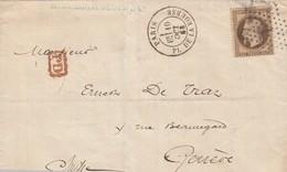 LETTRE. N° 30. 10 OCT 63. PARIS ETOILE 1 LA BOURSE. . PD. POUR SUISSE GENEVE. MUSSARD AUDEOUD OBLIGATIONS COMPAGNIE NORD - 1849-1876: Classic Period