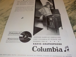 ANCIENNE PUBLICITE JOSEPHINE BAKER ET  COLUMBIA   1931 - Música & Instrumentos