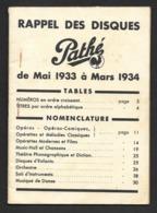 Musique.  Catalogue Illustré Des Disques  Pathé  1934. - Música & Instrumentos